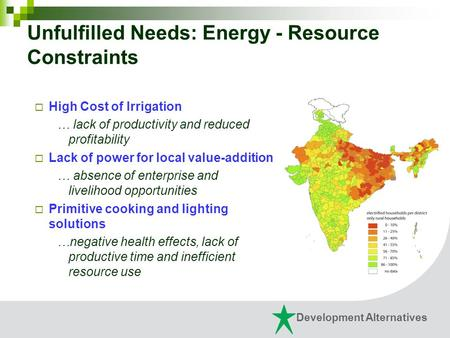 Unfulfilled Needs: Energy - Resource Constraints  High Cost of Irrigation … lack of productivity and reduced profitability  Lack of power for local value-addition.