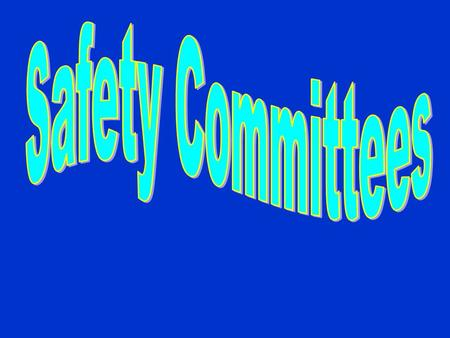 To serve as an advisory board  To participate in the development of health & safety procedures  To measure effectiveness of safety programs  To get.