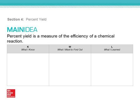Percent yield is a measure of the efficiency of a chemical reaction. Section 4: Percent Yield K What I Know W What I Want to Find Out L What I Learned.