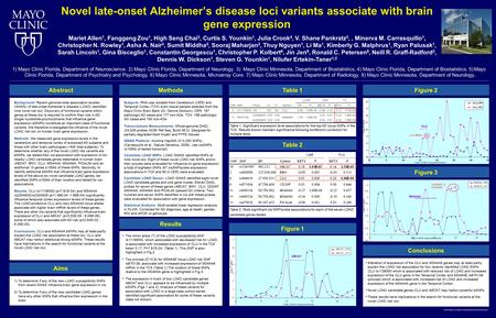  2011 Mayo Foundation for Medical Education and Research Novel late-onset Alzheimer's disease loci variants associate with brain gene expression Mariet.