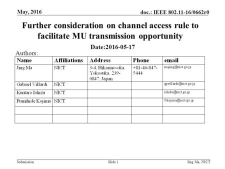 Submission doc.: IEEE 802.11-16/0662r0 May, 2016 Jing Ma, NICTSlide 1 Further consideration on channel access rule to facilitate MU transmission opportunity.