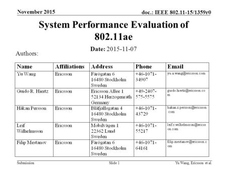 Submission doc.: IEEE 802.11-15/1359r0 November 2015 Yu Wang, Ericsson et al.Slide 1 System Performance Evaluation of 802.11ae Date: 2015-11-07 Authors: