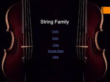 String Family Violin Viola Cello Double Bass Harp.