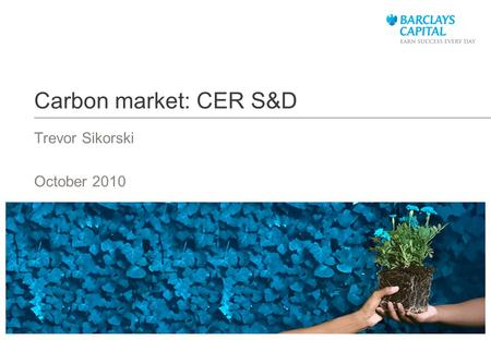 Carbon market: CER S&D Trevor Sikorski October 2010.