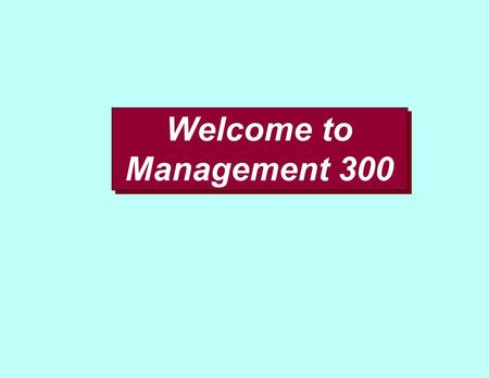 Welcome to Management 300. This is YOUR course - make the most of it!