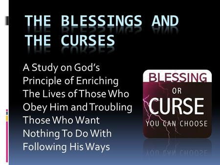 A Study on God's Principle of Enriching The Lives of Those Who Obey Him and Troubling Those Who Want Nothing To Do With Following His Ways.