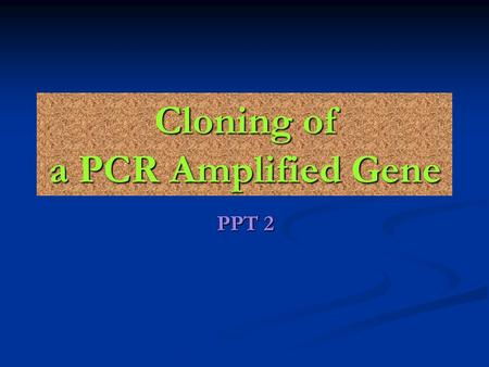 Cloning of a PCR Amplified Gene PPT 2. About Plasmids The plasmid pUC19 used for this experiment is derived from the pUC series. It has a single recognition.