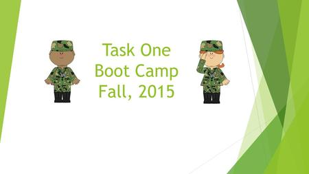 Task One Boot Camp Fall, 2015. Components of Task One Context for Learning  Choose a class and complete a Context for Learning template for Literacy.