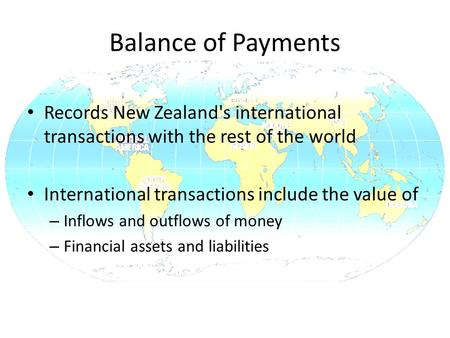 Balance of Payments Records New Zealand's international transactions with the rest of the world International transactions include the value of – Inflows.