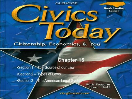 Chapter 15 Section 1 – The Source of our Law Section 2 – Types of Laws Section 3 – The American Legal System.