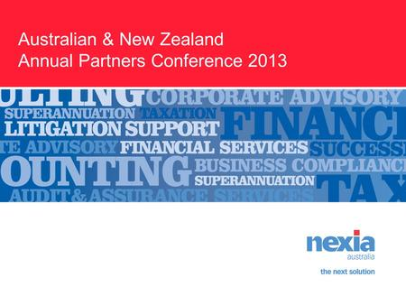 Australian & New Zealand Annual Partners Conference 2013.