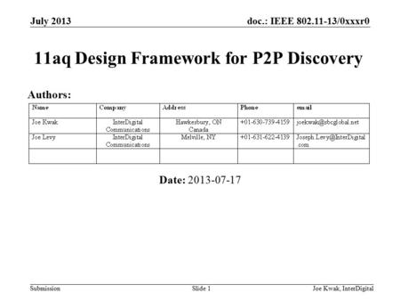 Doc.: IEEE 802.11-13/0xxxr0 Submission 11aq Design Framework for P2P Discovery Date: 2013-07-17 July 2013 Joe Kwak, InterDigitalSlide 1 Authors: