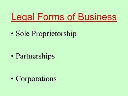 Legal Forms of Business Sole Proprietorship Partnerships Corporations.