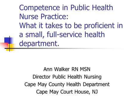 Competence in Public Health Nurse Practice: What it takes to be proficient in a small, full-service health department. Ann Walker RN MSN Director Public.