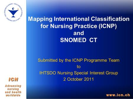 Mapping International Classification for Nursing Practice (ICNP) and SNOMED CT Submitted by the ICNP Programme Team to IHTSDO Nursing Special Interest.