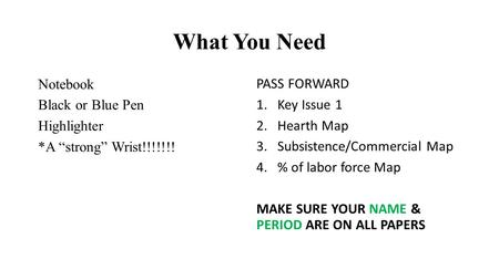 "What You Need Notebook Black or Blue Pen Highlighter *A ""strong"" Wrist!!!!!!! PASS FORWARD 1.Key Issue 1 2.Hearth Map 3.Subsistence/Commercial Map 4.%"