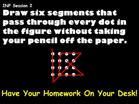 Draw six segments that pass through every dot in the figure without taking your pencil off the paper. INF Session 2 Have Your Homework On Your Desk!