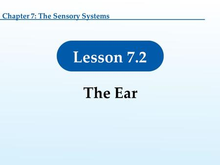 Lesson 7.2 The Ear Chapter 7: The Sensory Systems.