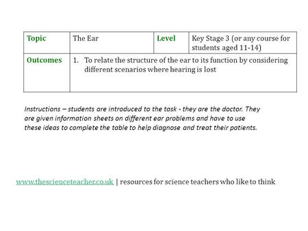 TopicThe EarLevelKey Stage 3 (or any course for students aged 11-14) Outcomes1.To relate the structure of the ear to its function by considering different.