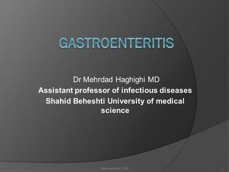 Assistant professor of infectious diseases