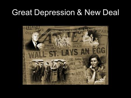Great Depression & New Deal. Part I. What Caused the Great Depression? The stock market crash of 1929 was the event that started the Great Depression.