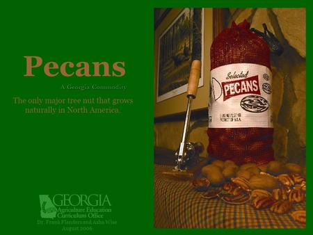 Pecans Dr. Frank Flanders and Asha Wise August 2006 A Georgia Commodity The only major tree nut that grows naturally in North America.