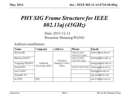 Doc.: IEEE 802.11-14-0716-00-00aj Submission PHY SIG Frame Structure for IEEE 802.11aj (45GHz) Authors/contributors: Date: 2015-11-14 Presenter: Haiming.