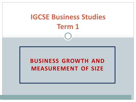 IGCSE Business Studies Term 1