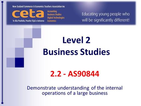 Level 2 Business Studies 2.2 - AS90844 Demonstrate understanding of the internal operations of a large business.