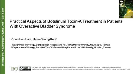 International Neurourology Journal 2015;19:213-219 Practical Aspects of Botulinum Toxin-A Treatment in Patients With Overactive Bladder Syndrome Chun-Hou.