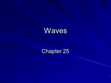 Waves Chapter 25. Vibrations and Waves A wiggle in time is a vibration –A vibration cannot exist in one instant but needs time to move back and forth.