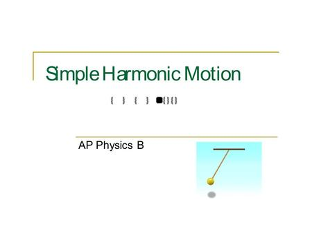 Simple Harmonic Motion AP Physics B. Simple Harmonic MotionSimple Harmonic Motion Back and forth motion that is caused by a force that is directly proportional.