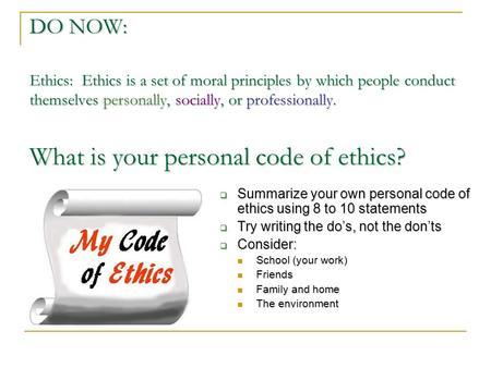 a personal code of ethics philosophy essay Code of ethics essays:  philosophy essay paper  a code of ethics charter ground rules code of ethics nasa code of ethics personal code of ethics.