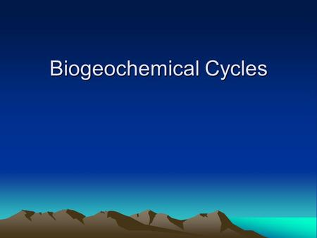 Biogeochemical Cycles. In each Biogeochemical Cycle, a pathway forms when a substance enters living organisms such as trees from the atmosphere, water,
