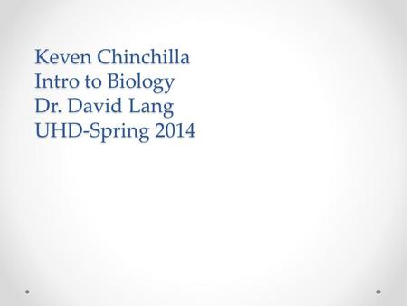 Keven Chinchilla Intro to Biology Dr. David Lang UHD-Spring 2014.