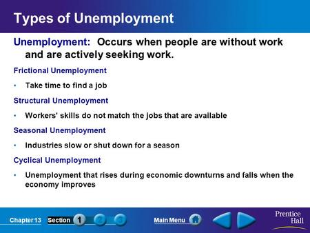 Chapter 13SectionMain Menu Types of Unemployment Unemployment: Occurs when people are without work and are actively seeking work. Frictional Unemployment.