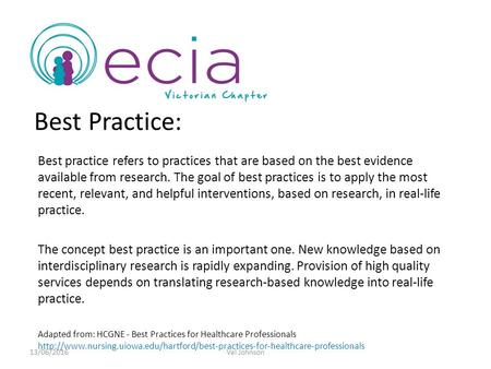 Best Practice: Best practice refers to practices that are based on the best evidence available from research. The goal of best practices is to apply the.