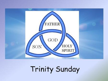 Trinity Sunday. Alleluia, Alleluia, Christ is with us, He is with us indeed Alleluia And so we gather. In the name of the Father…