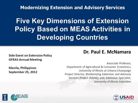 Modernizing Extension and Advisory Services Five Key Dimensions of Extension Policy Based on MEAS Activities in Developing Countries Modernizing Extension.