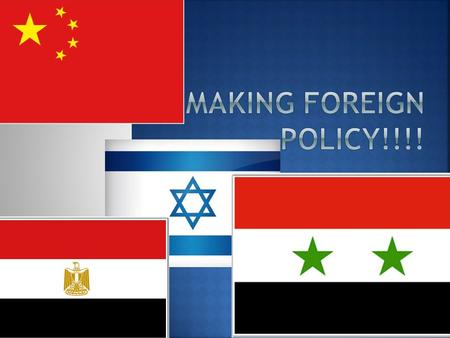  Foreign Policy- a nation's overall plan for dealing with other nations  Main goals of Foreign Policy:  National security- the ability to keep the.