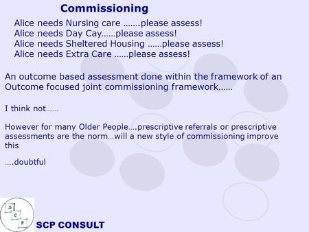 SCP CONSULT Alice needs Nursing care …….please assess! Alice needs Day Cay……please assess! Alice needs Sheltered Housing ……please assess! Alice needs.
