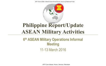 AFP Vision 2028: A World-class Armed Forces, Source of National Pride AFP Core Values: Honor, Service, Patriotism Philippine Report/Update ASEAN Military.