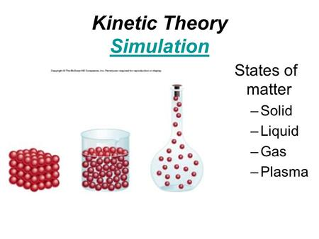 Kinetic Theory Simulation Simulation States of matter –Solid –Liquid –Gas –Plasma.