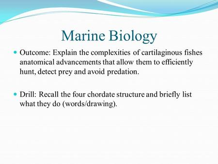 Marine Biology Outcome: Explain the complexities of cartilaginous fishes anatomical advancements that allow them to efficiently hunt, detect prey and avoid.