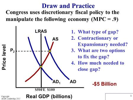 Price level Real GDP (billions) Draw and Practice AD 1 AD P2P2 $50FE $100 AS 1.What type of gap? 2.Contractionary or Expansionary needed? 3.What are two.