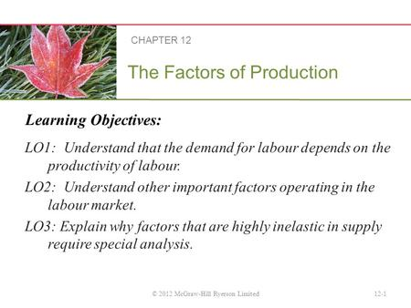 Learning Objectives: The Factors of Production LO1: Understand that the demand for labour depends on the productivity of labour. LO2: Understand other.