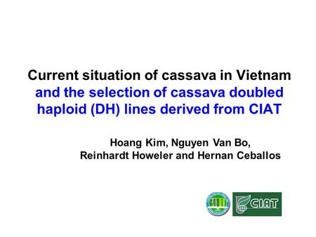 Current situation of cassava in Vietnam and the selection of cassava doubled haploid (DH) lines derived from CIAT Hoang Kim, Nguyen Van Bo, Reinhardt Howeler.