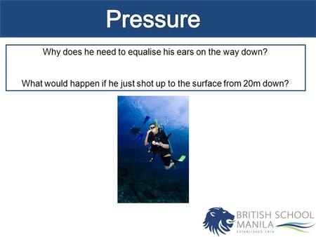 Why does he need to equalise his ears on the way down? What would happen if he just shot up to the surface from 20m down?