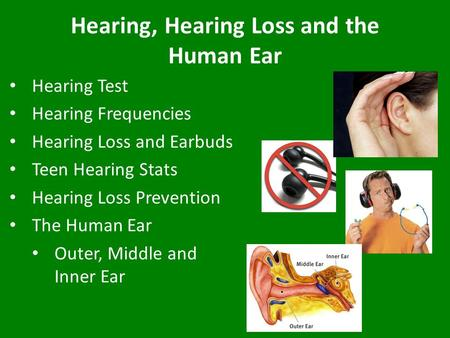 Hearing, Hearing Loss and the Human Ear Hearing Test Hearing Frequencies Hearing Loss and Earbuds Teen Hearing Stats Hearing Loss Prevention The Human.