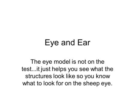 Eye and Ear The eye model is not on the test...it just helps you see what the structures look like so you know what to look for on the sheep eye.